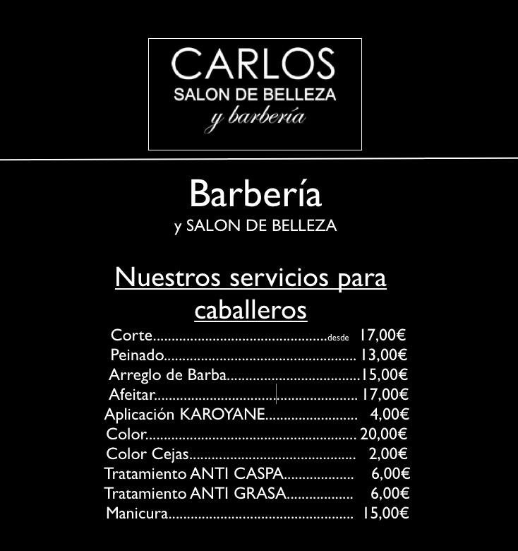 Tarifas Caballero Peluqueria Carlos Bilbao