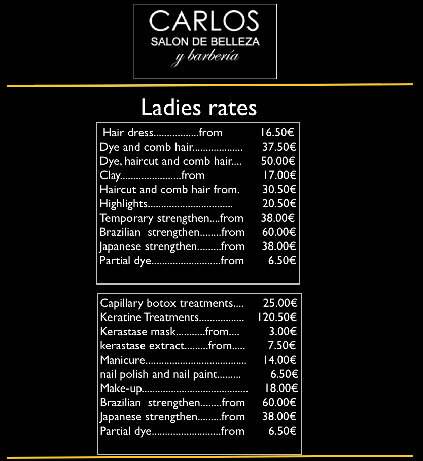 lady´s rates of hair salon in Bilbao